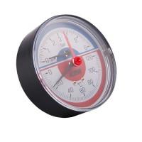 Термоманометр с запорным клапаном,задним подкл. 1/2(0-10бар)