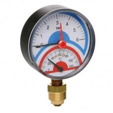 Термоманометр радиатор.с запорным клапаном 1/2(0-6бар)