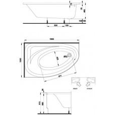 Ванна акриловая KOLO SPRING  160*100 см, правая