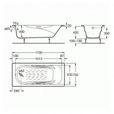 MALIBU ванна 170*75см, с ручками, без ножек