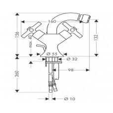 Axor Terrano - смеситель на биде (крестики) сатинокс HANSGROHE 37230810