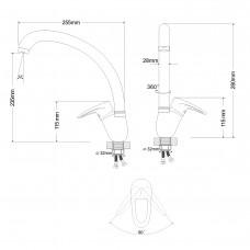 BOSS смеситель для кухни однорычажный, крупный, ручка сбоку, хром 40мм