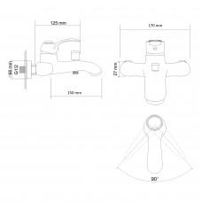 FORTUNA смеситель для ванны однорычажный, хром 40мм
