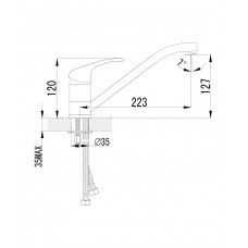 MALSE смеситель для кухни, хром, 35 мм