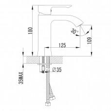 Смеситель для раковины VYSKOV хром, 35мм