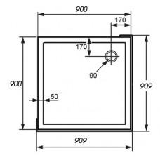 VERANO поддон 90*90см квадратный с формованной передней панелью