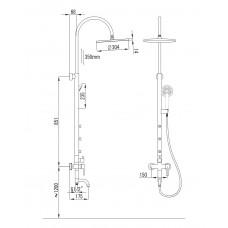 Система душевая NAHORU (смеситель для ванны, верхний и ручной душ, 4 режима, шланг 1,5м)