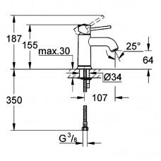 Смеситель для раковины BauClassic однорычажный на одно отверстие