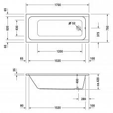 D-CODE ванна прямоугольная 170*75см