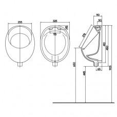 Писсуар вертикальный выпуск, верхний  подвод воды NOVA TOP PICO