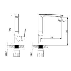 DANIELLA Смеситель для кухни, хром, 35 мм