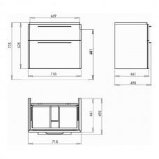 TRAFFIC шкафчик под умывальник 71,8*62,5*46,1см,белый глянец (пол.)