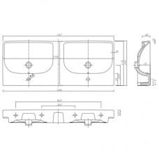 TRAFFIC умывальник мебельный 120*48 см двойной, с двумя отверстиями,с переливом (пол.)