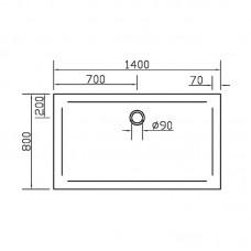 Поддон для душевой кабины EGER SMC 1400*800*35 прямоугольный