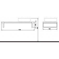 OVUM/EGO столешница под умывальник, правая 118,9 x 19,5 x 50,8 см, тик (пол.)