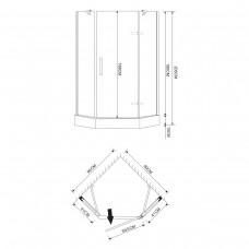 Душевая кабина EGER  STEFANI 90*90*205 см, пятиугольная