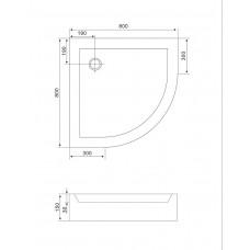 Поддон для душевой кабины EGER TISZA  80*80*15 см,полукруглый