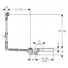 Geberit Слив-перелив удлиненный, с поворотной ручкой и крышкой сливного отверстия, d52, хром глянц.