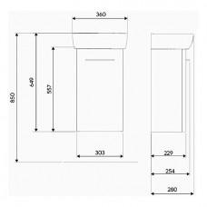 NOVA PRO комплект: умывальник 36cm прямоугольный + шкафчик для умывальника белый глянец (пол)