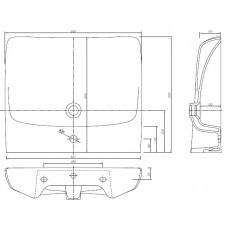 NOVA PRO умывальник 65 см для людей с ограниченными физическими возможностями, с переливом