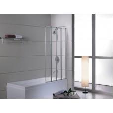 Шторка-гармошка на ванну 89*140 см, прозрачное стекло 5мм, цвет профиля хром