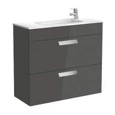 DEBBA шкафчик 80см + умывальник,  в комплекте с сифоном, с 2-мя ящиками, серый антрацит