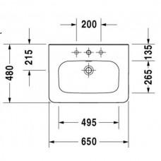 DURASTYLE умывальник для мебели с переливом с плоскостью под смеситель 65*48 см