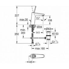 Eurodisc Joy Смеситель для раковины, однорычажный, со сливным гарнитуром, M-Size