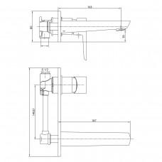 BRECLAV cмеситель для раковины (настенный), хром, 35 мм