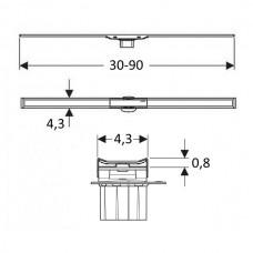Geberit дренажный канал CleanLine20, L30-90см, полированный/матовый металл