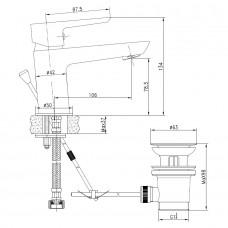 Смеситель для раковины BRECLAV с донным клапаном, хром, 35 мм
