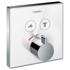 ShowerSelect Термостат  для двух потребителей, стеклянный, СМ белый/хром