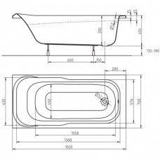 Ванна акриловая KOLO SENSA 150*70 см