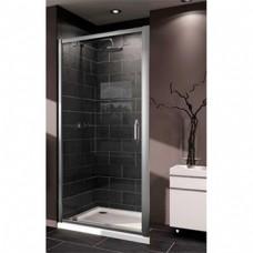 X1 дверь распашная для ниши и боковой стенки 100см  (профиль гл хром, стекло прозр)