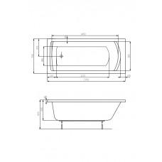 LINEA ванна 1700*750мм, с ножками