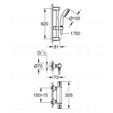 Grohtherm 800 Термостат с душевым набором 600, наружный монтаж, хром