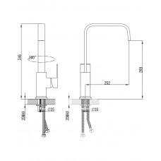 ELANTA смеситель для кухни, хром, 35мм