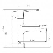 Смеситель для биде LASKA сатин, 35 мм