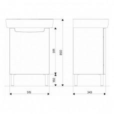 REKORD шкафчик под умывальник 50*59,1*38,5 см, белый глянец (пол)