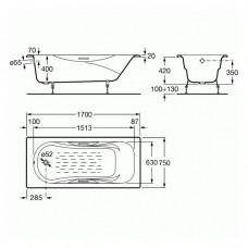 MALIBU ванна 170*75см с ручками + сифон Viega Simplex  для ванны автомат 560мм (285357)