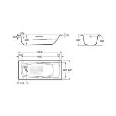 SWING ванна 180*80 см, с ручками + Сифон Viega Simplex для ванны, автомат 560мм