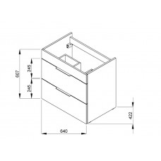 SUIT тумба 640*422*620мм, с раковиной с 1-м отв. под смес. посредине, подвесная, белый глянец