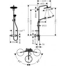 Croma Select 280 Air 1jet Showerpipe Душевая система с термостатом, хром