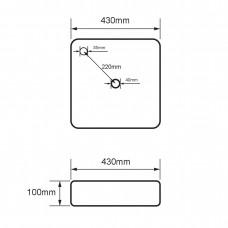 VOLLE умывальник квадратный 430*430*120мм, накладной с отверстием под смеситель