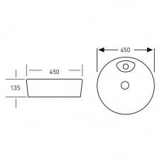 VOLLE умывальник круглый 450*450*140мм, накладной с отверстием под смеситель