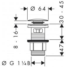 Hansgrohe Сливной набор для раковины и биде Push-Opеn, хром