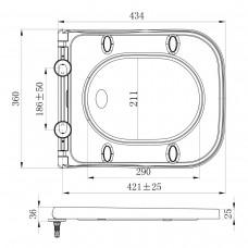 ORLANDO сиденье для унитаза твердое Slim slow closing метал крепл (исп)