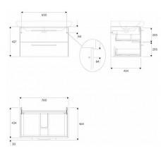 LIFE! шкафчик под умывальник 80 см с двумя ящиками, белый глянец