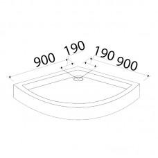 Поддон для душевой кабины VOLLE FIESTA  90*90*15 см, полукруглый