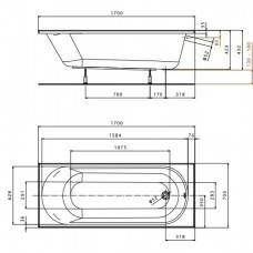 Ванна акриловая KOLO OPAL PLUS 170х70 см